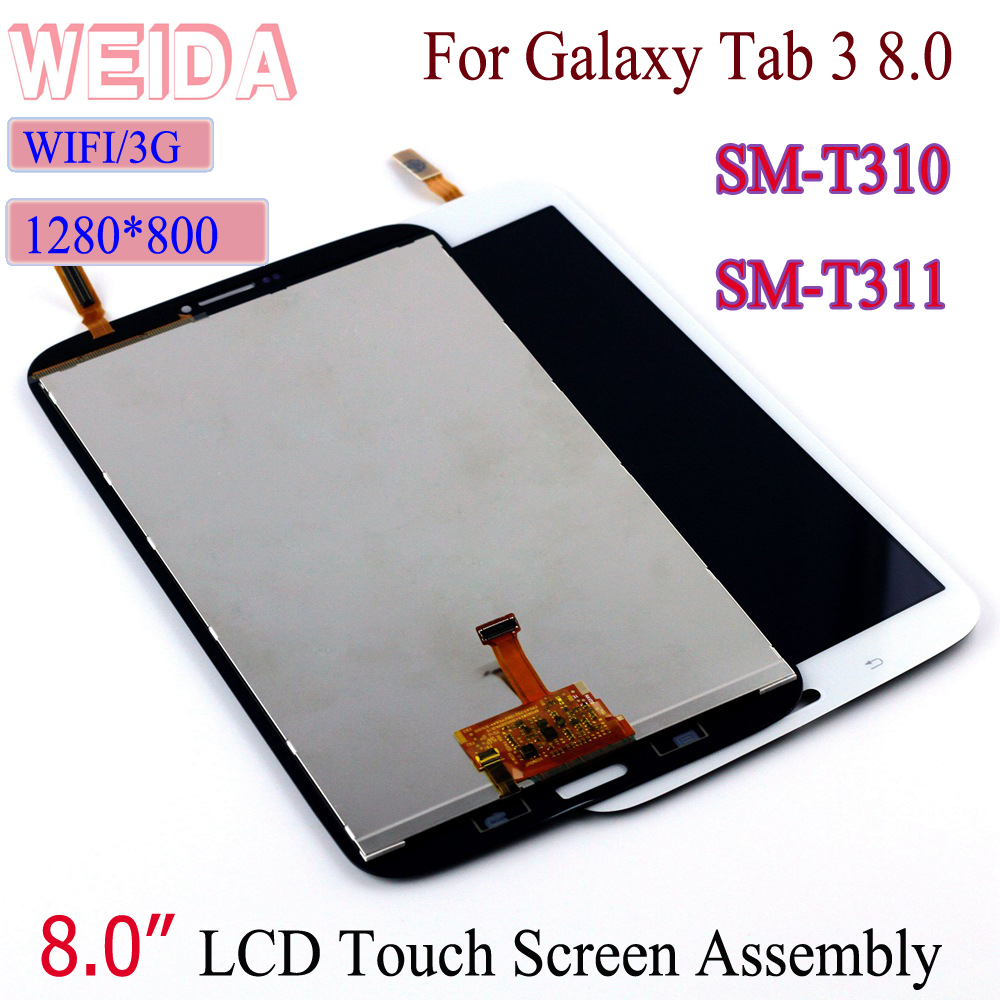 WEIDA LCD Replacment 8 For Samsung Galaxy Tab 3 8.0 SM T310 SM T311 LCD Display Touch Screen Assembly T310 WIFI /T311 3G