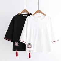 Mori Girl Women Japanese Vintage Anime T Shirt Harajuku Kawaii Cat Graphic Tassels Tees Female Tops Gothic Casual Cute T Shirts