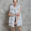 Женская Зима Теплая Искусственного Меха О-Образным Вырезом Тонкий Длинный Жилет Жилет Мода Hot