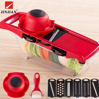 JINJIAN 6 In 1 Mandoline Peeler Grater Vegetables Cutter Tools Carrot Grater Onion Vegetable Slicer Kitchen