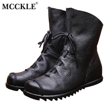 Women Fashion Vintage Genuine Leather Shoes Female Spring Autumn Platform Ankle Boots Woman Lace Up Casual Boots