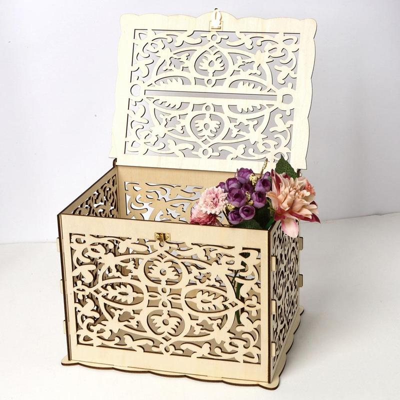 Big Offer Diy Wedding Gift Card Box Wooden Money Box With