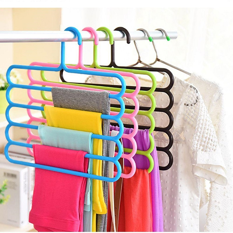Multi-functional Thick Five-layer Pants Rack Non-slip Multi-layer Household Wardrobe Hanging Towel Holder Clothes 5 Color