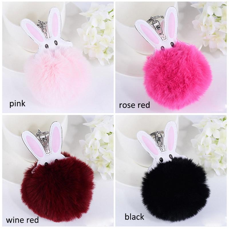 Hot Sale Pom Pom Rabbit Shape Fluffy Faux Rabbit Fur Keychains Bag Pendant for Women Car Keyrings Handbag Key Holder Good Gift