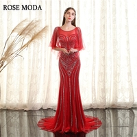 Rose Moda Delicate Crystal Beaded Long Red Evening Dress Mermaid Evening Dresses with Sleeves Real Photos