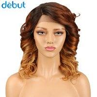 Дебют человеческих волос парик Ombre Цвет бразильской линии Синтетические волосы на кружеве человеческих волос парики для черный Для женщин
