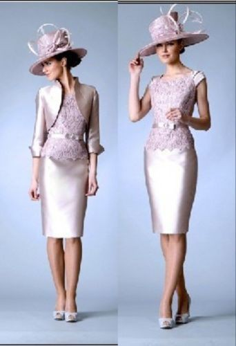 vestido de madrinha free shipping 2015 new hot sheath sleeves knee-length custom Mother of the Bride lace Dresses with jacket