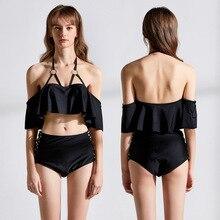 New Sexy Off Shoulder Bikini Women Solid Black Swimsuit Lotus Ruffled Bathing Suit S-XL Girl High Waist Swimwear 2 Pc Bikini Set недорго, оригинальная цена