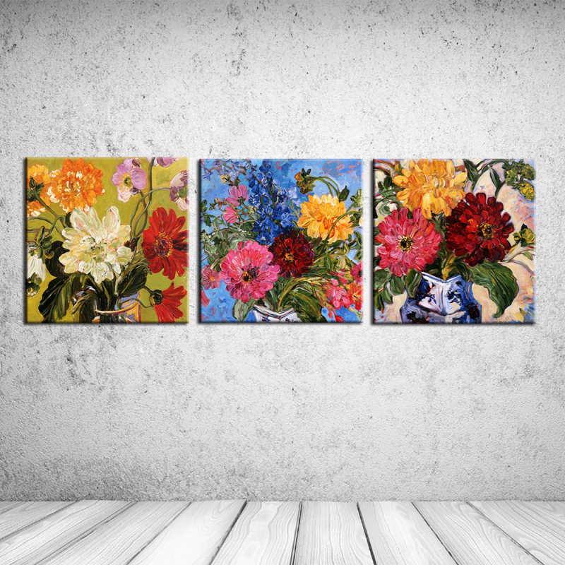 Hot sales 3pcs About chrysanthemum wallpaper home decor oil painting on canvas for living room cafe bar wall sticker RZ-CC078
