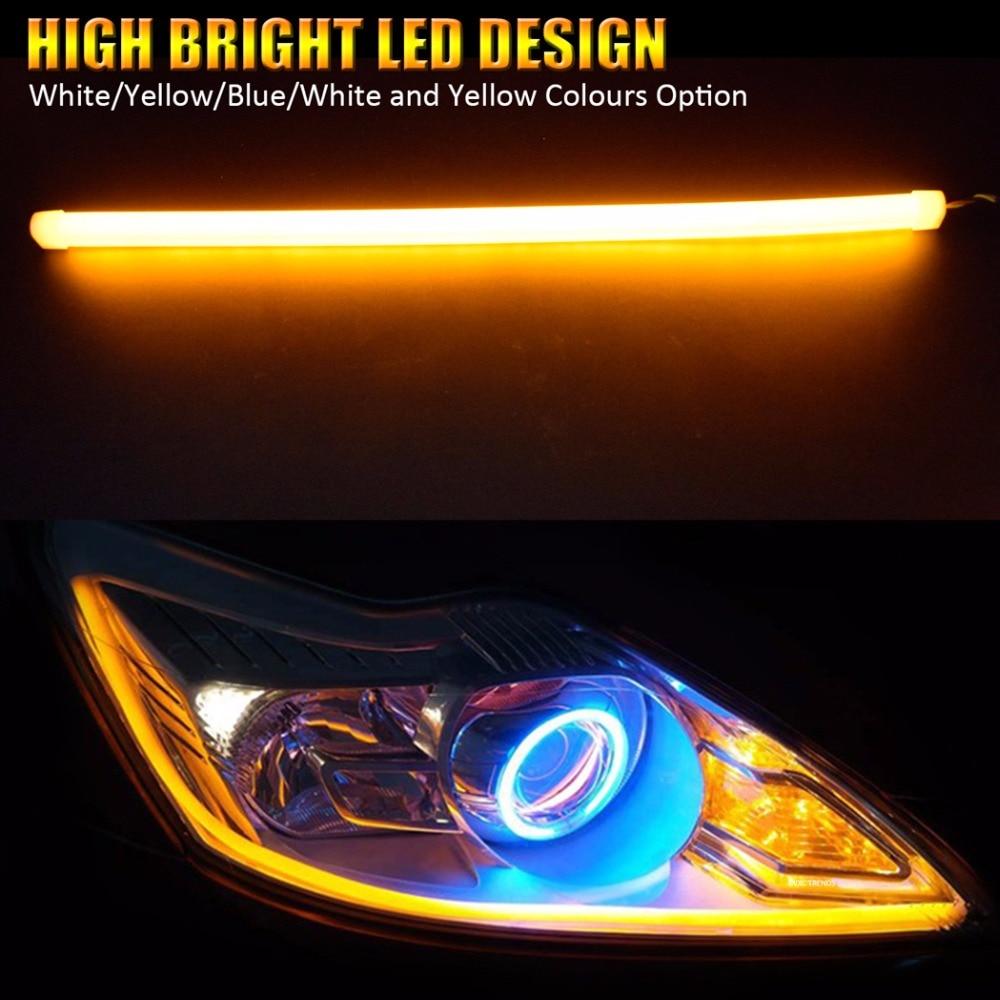 XINFOK 2PCS 60CM White Amber Yellow Red Blue LED Daytime Daylight Running Light Tube Flexible LED Strip DRL Switchback Headlight Lamp Only Purple