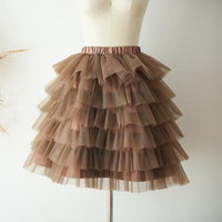 Real Picture Fashion Brown Elastic Waistline Above Knee Tutu Skirt Chic Tiered Ruffle Short Tulle Skirt Women Custom Faldas Saia