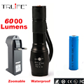 LED CREE XM-L T6 Flashlight 3800Lumens Torch 5 modes High Power Lamp Zoomable Tactical Flashlight+1*18650 Battery+Charger