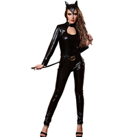 Adult Women Black Sexy Catsuit Costume Ladies Cat Cosplay Jumpsuit Hollow Hole Out Vinyl PVC Club Bar Dance Outfit For Girls