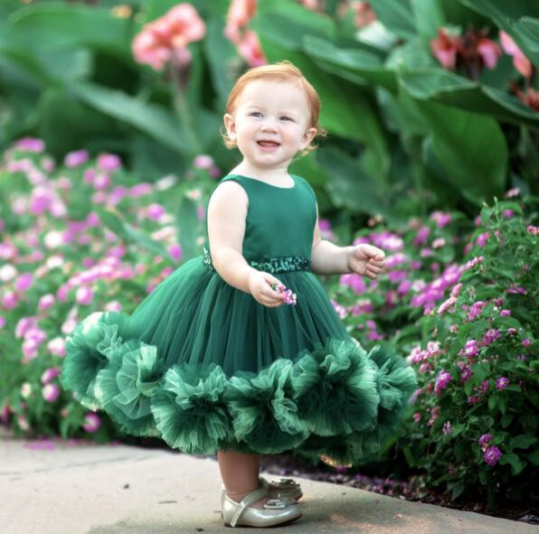 64c5999bbd64 Emerald green Puffy tulle Ruffles flower girl dresses for party Christmas  ball gown baby first birthday