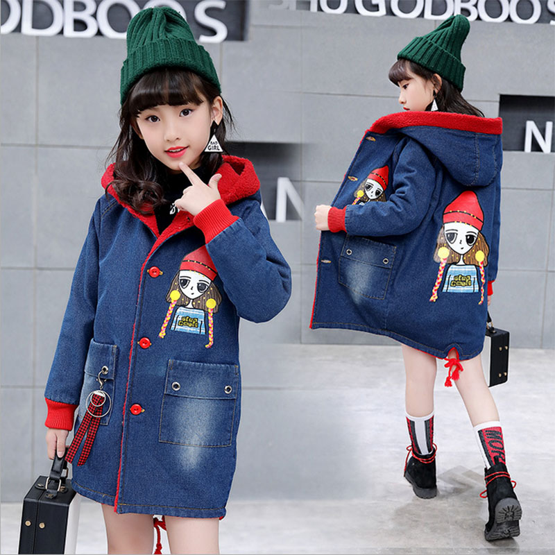 Autumn winter teenage girls windbreaker for girls hooded thick jacket for girls cowboy coat children outerwear long section coat olekid 2017 new cartoon rabbit winter girls parka thick warm hooded children outerwear 5 14 years teenage girls sweater coat