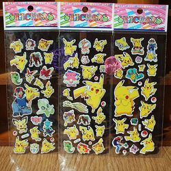 Cute Anime Pokemon Stickers Pikachu Pocket Monster Scrapbooking Wall Sticker Sheet Pocket