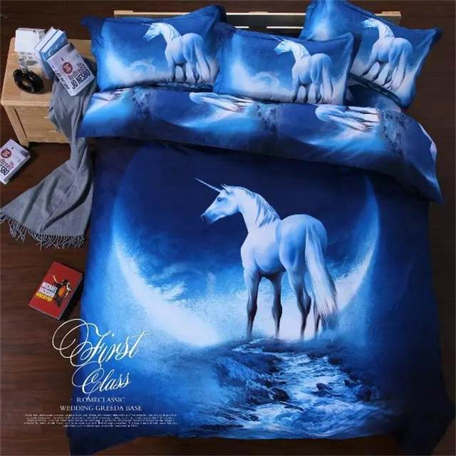 3D Fancy Unicorn Outer Space Galaxy Moon And Stars Bedding Set Twin Queen  Size Cheap Polyester   Cotton Bed Sheets Bedroom Sets