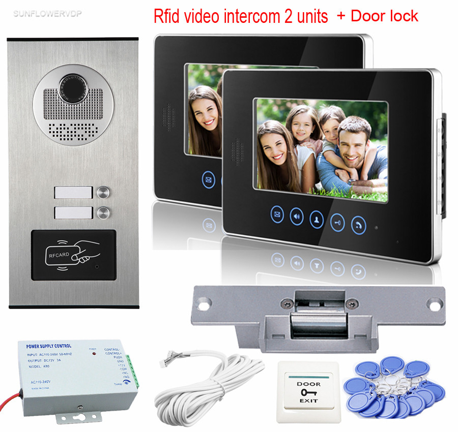 7 Color Door Video Phone RFID Access Camera For 2 Apartment With 2 Monitors Video Intercom Doorbell System+Electric Strike Lock 1v3 doorbell camera 2 4ghz video wireless videocitofono video door phone with 3 indoor monitors for door access security