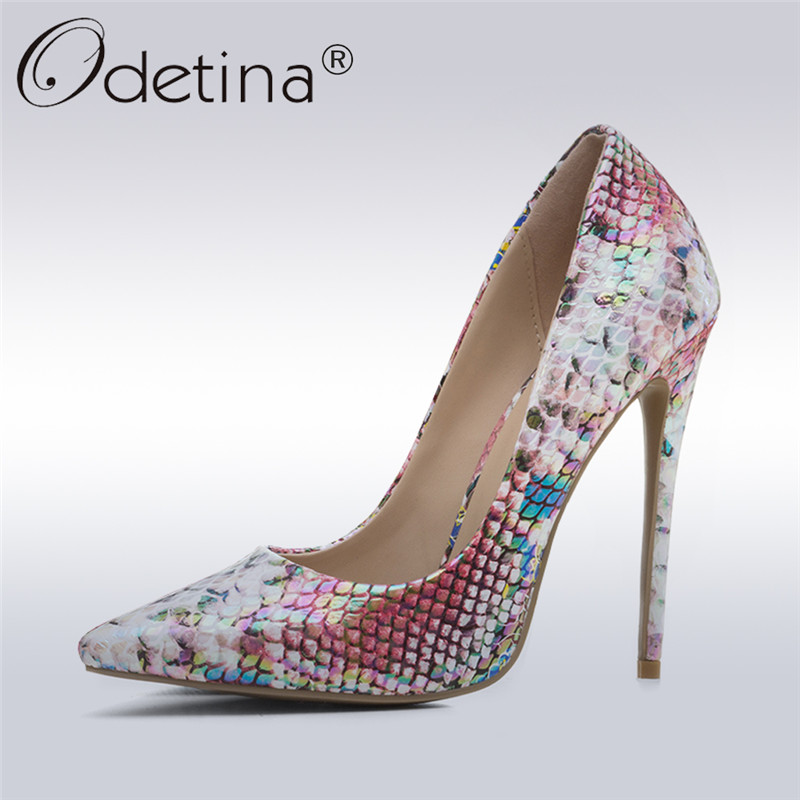 Odetina 2018 New Fashion Women Snake Printed Pumps Pointed Toe Stiletto High Heels Sexy Prom Evening Party Shoes Big Size 33-43 2018 fashion women round toe height platform extreme high heels shoes 16cm snake sexy pumps nightclub evening party