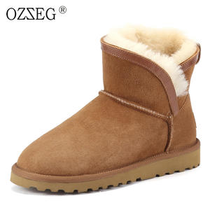 bbf9136ab83 OZZEG Female genuine leather ankle shoe women winter