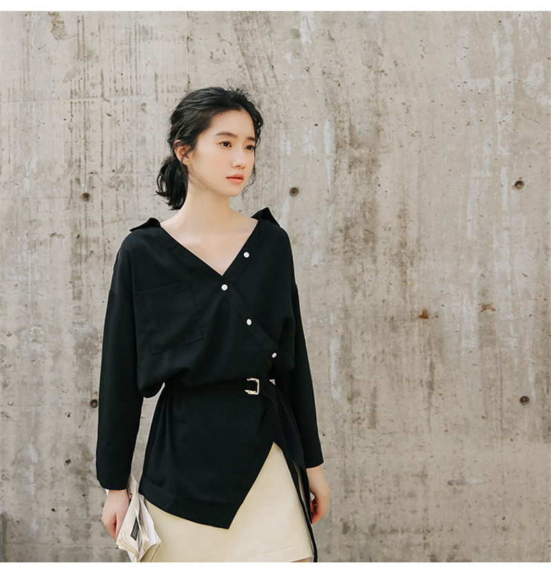 Women Shirts 2018  Autumn New Korean Loose Student Long-sleeved White Blouse Cute Sashed V Neck Fashion Blusas Chic Women Tops