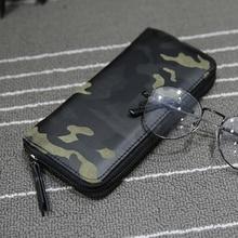 Camouflage Men Wallets Zipper Design Mens Clutch Purse Hand Wallet Clutch Money Purse Wallet Large Capacity Long Card Holder