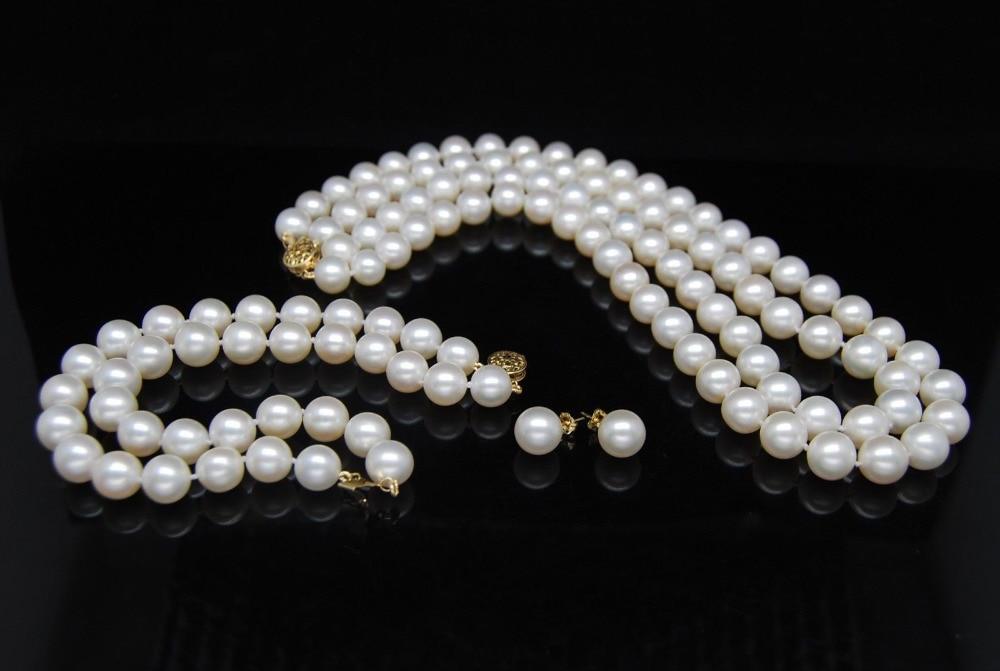 Ювелирные изделия 00709 двойные цепи 8 9 мм южного моря белый жемчужное ожерелье браслет серьги 14 К