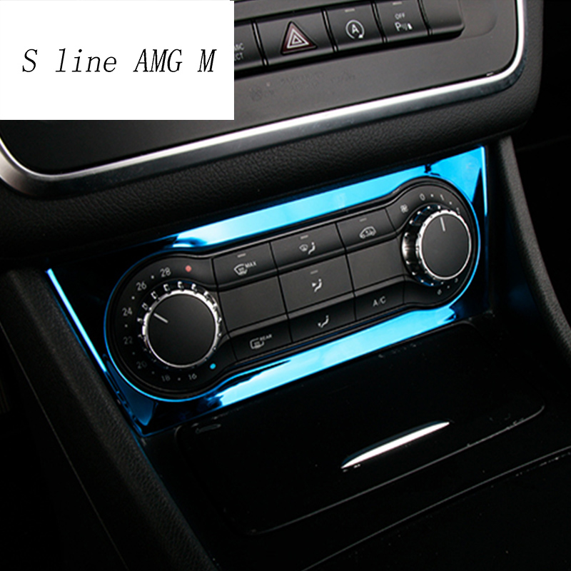 For <font><b>Mercedes</b></font> Benz A GLA CLA Class <font><b>W176</b></font> X156 C117 <font><b>Interior</b></font> Air Condition AC Switch Cover Trim stainless steel Stickers 2013-2017 image