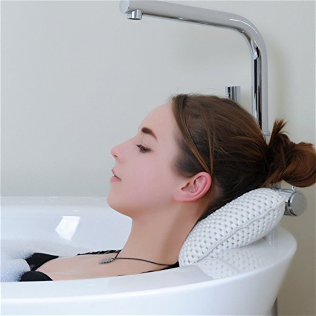 Luxury Bath Spa Pillow Cushioned Spongy Relaxing Bathtub Cushion 8 Suction Cups