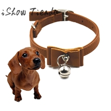 Puppy Dogs Collar Bell Rhinestone PU Leather Cat Supply Collars Pet Neck Strap Adjustable with Butterfly Knot #712