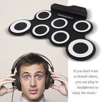 Electronic Drum Pad Portable Digital Drum 7 Silicon Pad With Foot Pedals USB Charging Musical Instrument