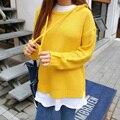 Retro Mujeres Suéteres Y Pullovers Lindo Harajuku Estilo 2016 de Corea Abrigos Nueva Kawaii Pink Otoño Invierno de Gran Tamaño Suéter de Las Mujeres