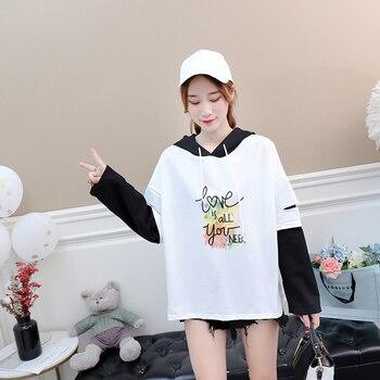 2 kolory 2018 jesień Harajuku miłość jest wszystko, czego potrzebujesz list drukuj luźna koszula z długim rękawem kobiety Casual fałszywe dwa kawałki topy Tshirt