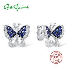 Серебряные серьги бабочки для женщин сине-белые камень cz серьги Твердые 925 серебряные серьги ювелирные изделия