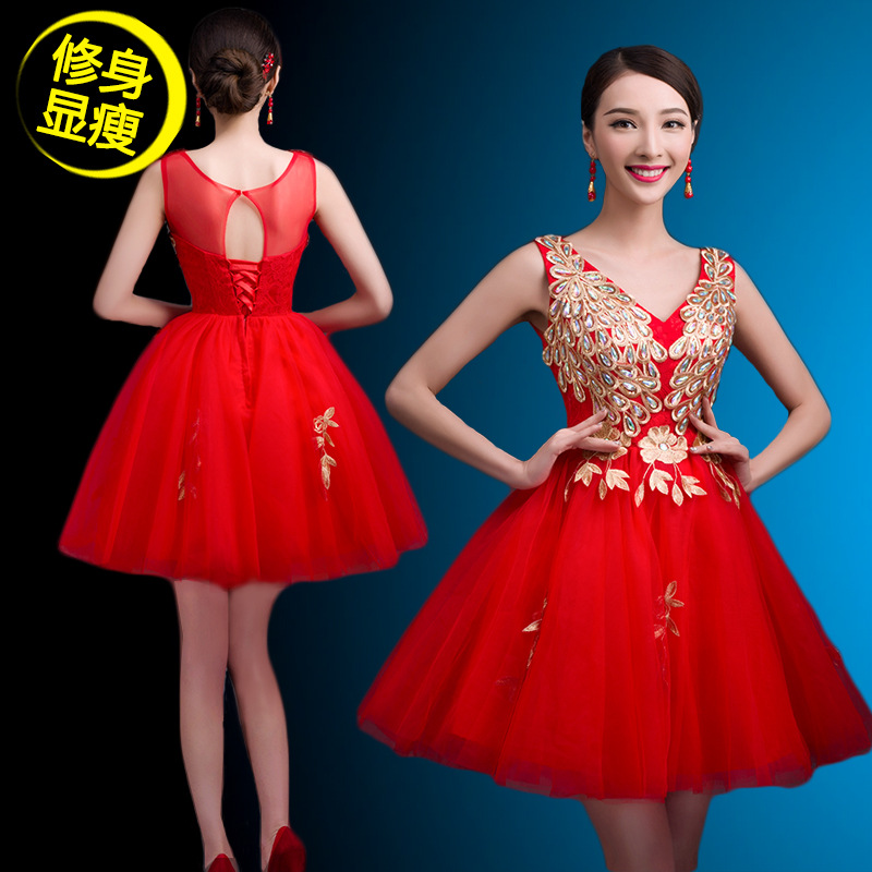 Appliques Beading Decorated Deep V Neckline Short Halter Mini Sexy Red   Cocktail     Dress   2016 or Party Hot Sale Vestido Coctel