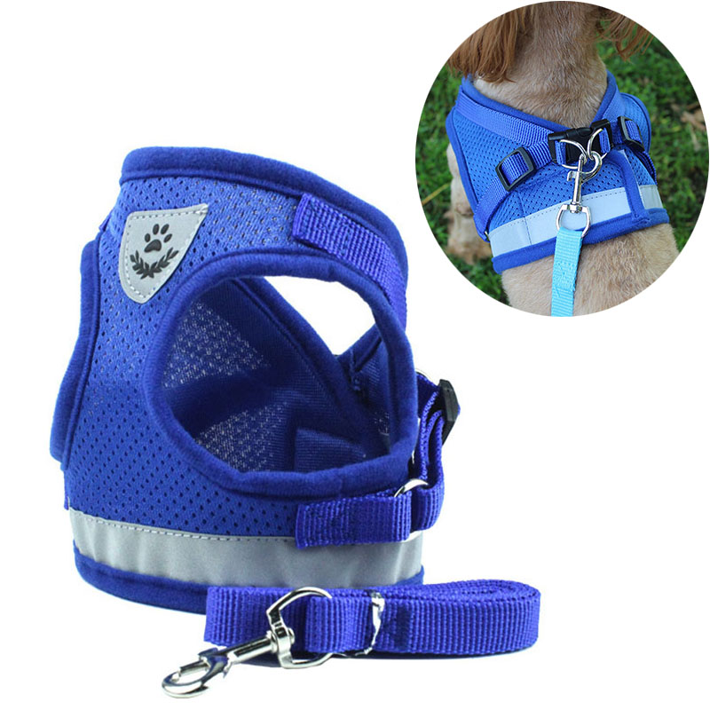 No Pull Step In Adjustable Pet Dog Cat Harness And Walking Leash Kitten Padded Vest Harness With Reflective Strap Easy To Put On