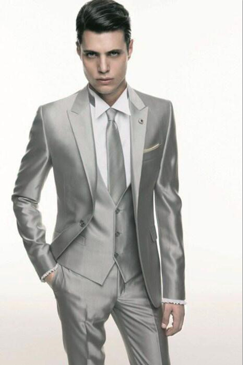 Aliexpress.com : Buy Silver Grey Satin wedding Men Suit 2017 ...