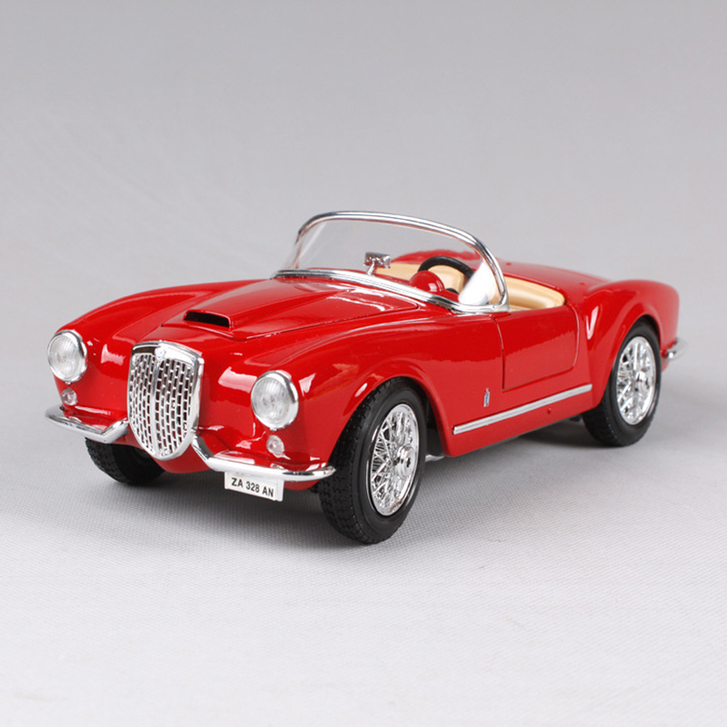 1:18 diecast Car 1955 Lancia Aurelia B24 Spider Red Classic Cars 1:18 Alloy Car Metal Vehicle Collectible Models toys For Gift 1 18 scale maisto classic children 1956 chrysler 300b antique vintage car metal diecast vehicle gift model kids toys collectible