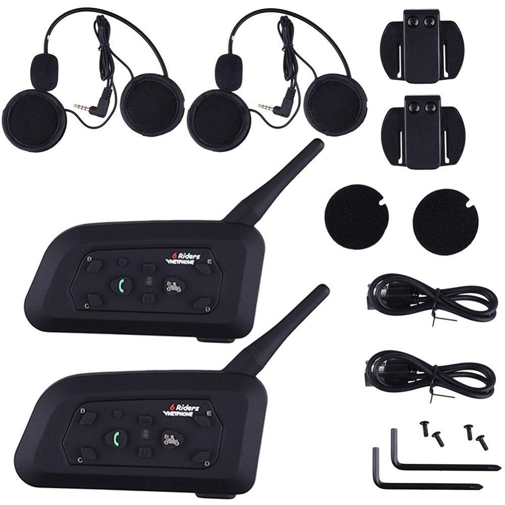 67caecc8f7a 2 pcs/lot V6 Pro Motorcycle Helmet Bluetooth Headset Intercom 6 Riders 1200M  Wireless Intercomunicador BT Interphone ~ Super Sale May 2019