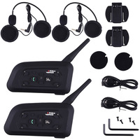 2 X1200M Bluetooth Intercom Headset 6 Riders Handsfree V6 Waterproof Motorcycle Interphone Interfone Support Stereo Music