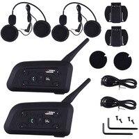 2 X1200M Bluetooth Intercom Headset 6 Riders Handsfree V6 Waterproof Motorcycle Interphone Interfone Support Stereo Music