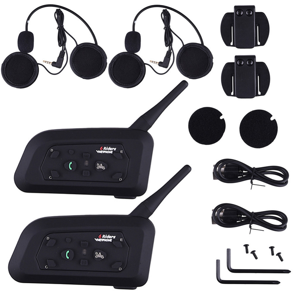 2 buc / lot V6 Pro Căști de motocicletă Setul cu cască Bluetooth Intercom 6 Riders 1200M Wireless Intercomunicador BT Interphone