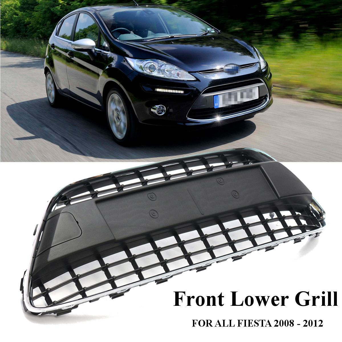 98cm Car Front Bumper Grille Center Lower Racing Grill Black W/ Chrome Trim For Ford/Fiesta MK7 2008-2012