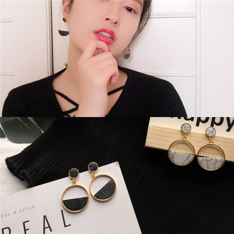 Handmade fashion simple geometric circular marble long earrings girls popular earrings earrings temperament EE88 5