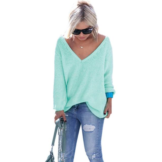 2017 осень и зима новых женщин с длинными рукавами V-образным Вырезом моды свободные свитера женщин пуловеры
