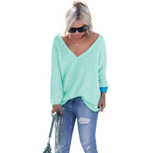 2017 autumn and winter new women's long-sleeved V-neck fashion loose sweater women pullovers