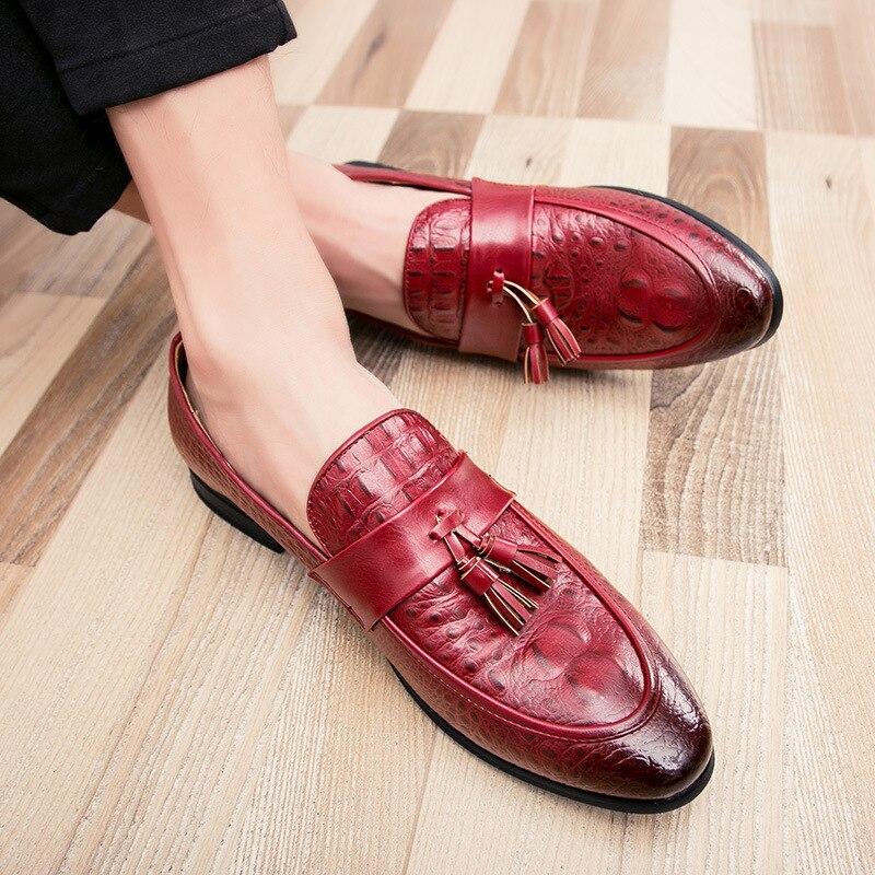 Noir Robe Chaussures Marque Mode Hommes Respirant Parti 2018 Rétro Mocassins Nouveau rouge D'été D'affaires De Luxe Automne Élégant wWOaqpO7