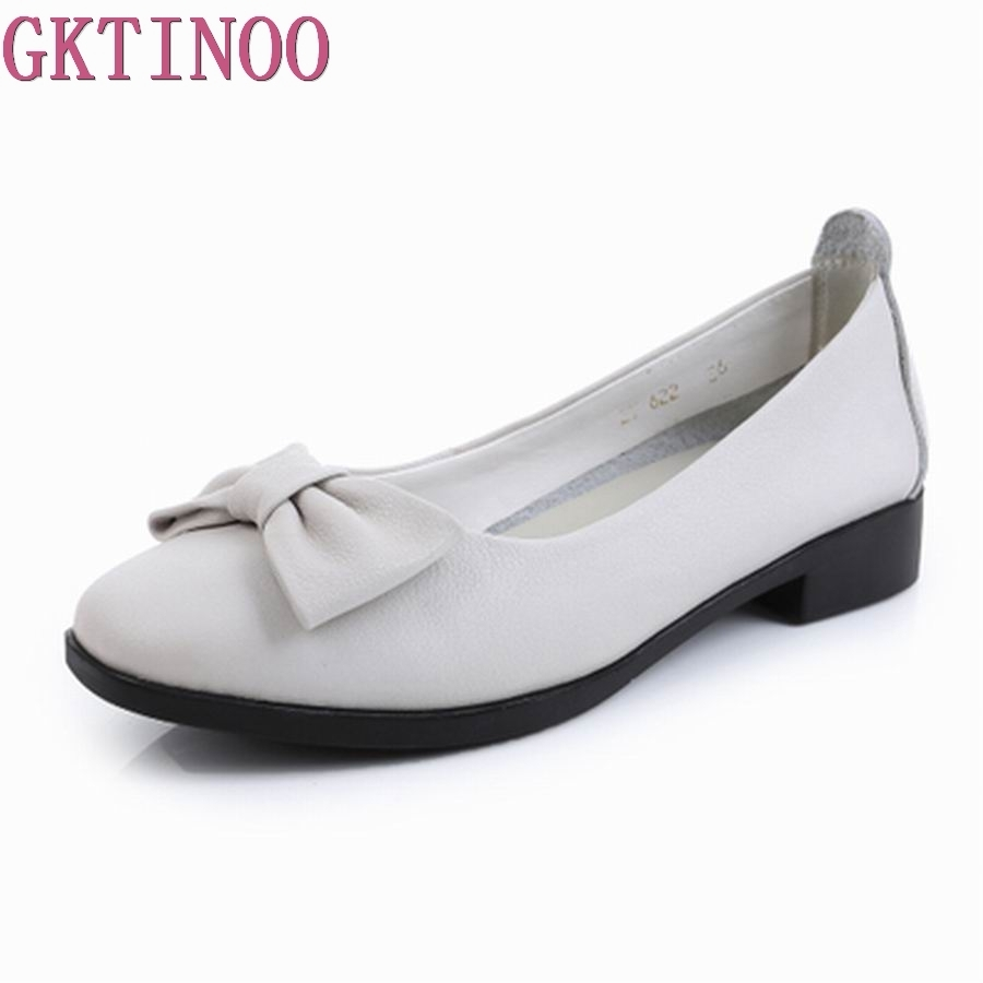 GKTINOO Women Shoes Genuine Leather Flat Shoes Woman Maternity Casual Work Shoes 2018 Fashion Loafers Shallow Women Flats xiniu flats mother shoes women retro flat heel shallow mouth solid color casual shoes flat shoes genuine leather shoes fashion
