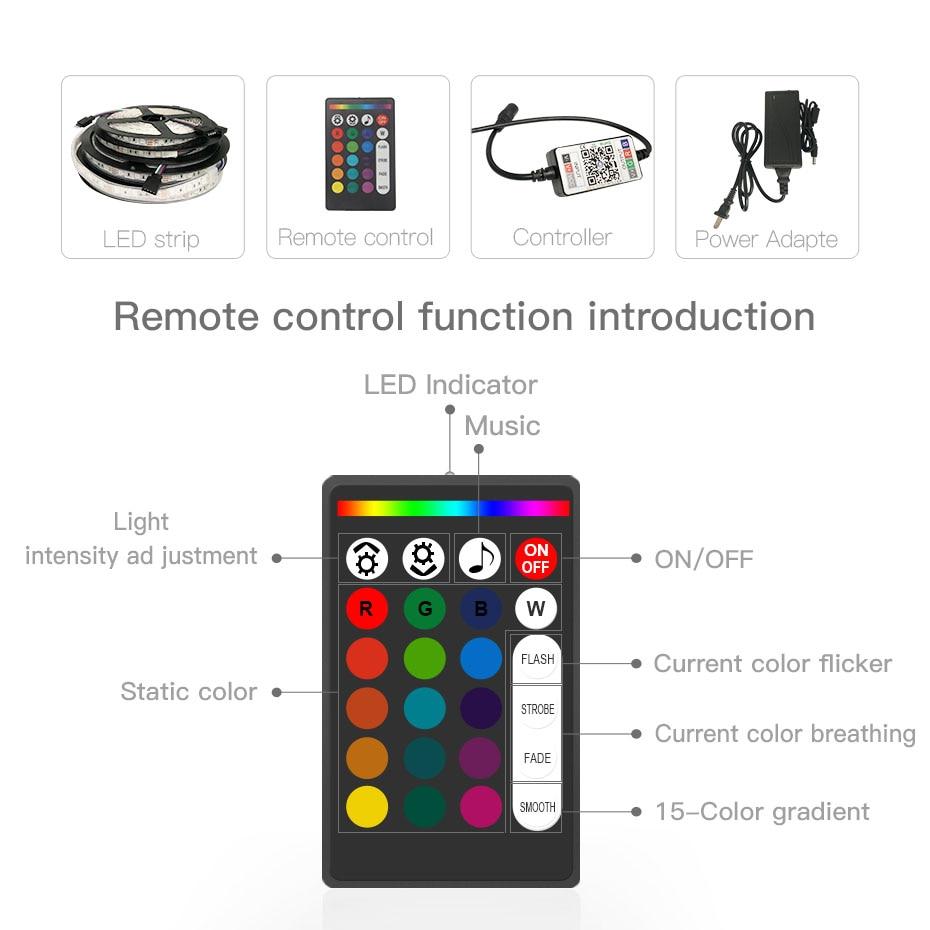 5M 12V LED Strip Light RGB SMD 5050 Waterproof LED Strip Ribbon Diode Tape Flexible Strip Light Lamps Phone Bluetooth Controller (7)