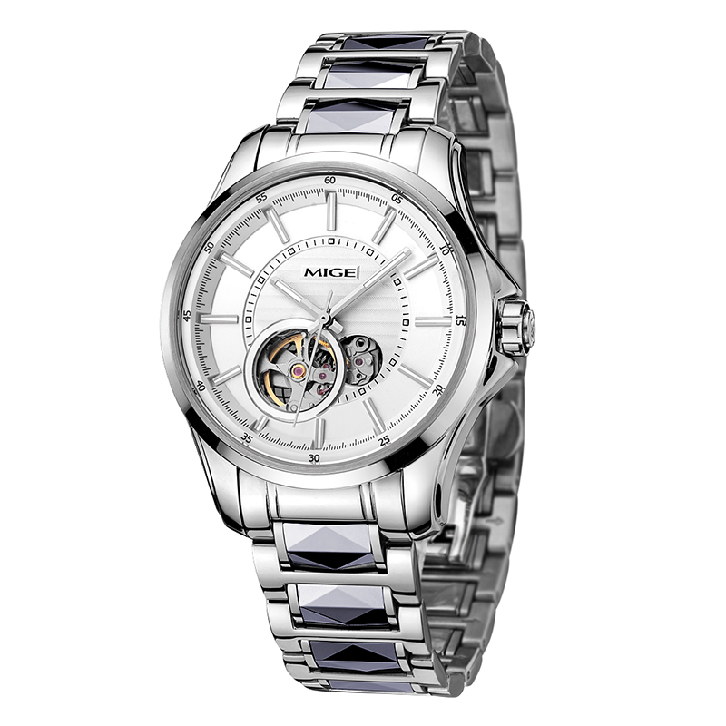 Mige 2018 New Top Luxury Brand Skeleton Mechanical Man Watch Tungsten Steel Material While Automatic Waterproof Mans WatchesMige 2018 New Top Luxury Brand Skeleton Mechanical Man Watch Tungsten Steel Material While Automatic Waterproof Mans Watches
